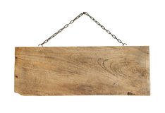 Wooden sign hanging Stock Images
