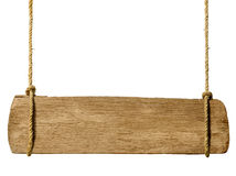 Wooden sign hanging from ropes Royalty Free Stock Images