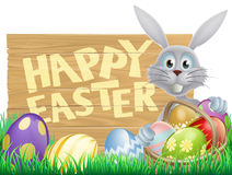 Wooden sign Happy Easter bunny Stock Images