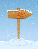Wooden sign with heart. Wooden sign with horse on snowy background, illustration Stock Photo