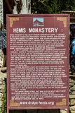 Wooden sign at Hemis Festival 2014 in Hemis Monastery. Hemis Monastery is a Tibetan Buddhist monastery of the Drukpa Lineage, located in Hemis, Ladakh, India Stock Image