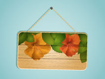 Wooden Sign Hibiscus Flowers Stock Photo