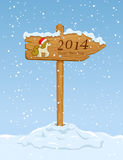 Wooden sign with horse. On snowy background, illustration royalty free illustration