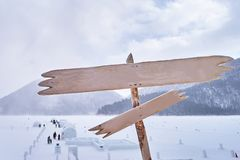 Wooden Sign with Igloo village in snowy winter season. At Obhiro city, Japan royalty free stock photos