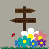 Wooden sign illustration on the nature background Royalty Free Stock Photo