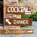 Wodden sign bord forming word wedding reception royalty free stock image
