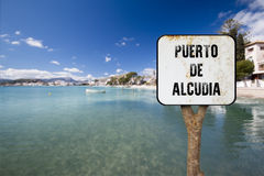 Wooden sign indicating alcudia Royalty Free Stock Photos