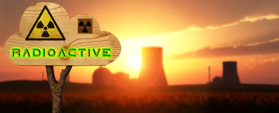 Wooden sign indicating nuclear Stock Image