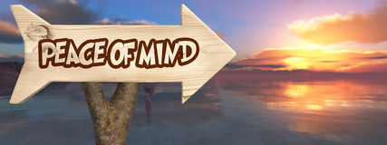wooden sign indicating  peace of mind Stock Photo