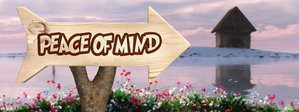 Wooden sign indicating  peace of mind Royalty Free Stock Images