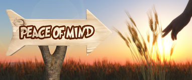 wooden sign indicating peace of mind royalty free stock image