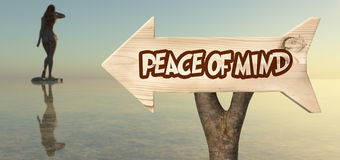 wooden sign indicating  peace of mind Stock Photography