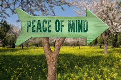 Wooden sign indicating peace Stock Image