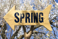 Wooden sign indicating spring Stock Photo