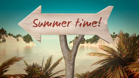 Wooden sign indicating summer Stock Photo
