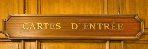 A wooden cartes d`entree sign royalty free stock photos