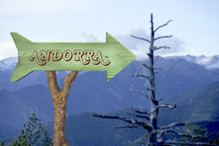 Wooden sign indicating to andorra Stock Photo