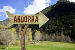 Wooden sign indicating to andorra Stock Image
