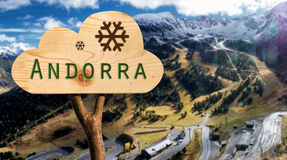 Wooden sign indicating to andorra Royalty Free Stock Image