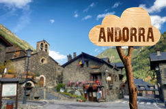 Wooden sign indicating to andorra Stock Photography