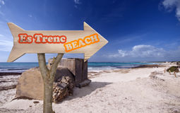 Wooden sign indicating to es trenc beach Stock Images