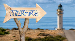 Wooden sign indicating to formentera Royalty Free Stock Images