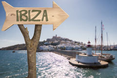 Wooden sign indicating to ibiza Stock Photo