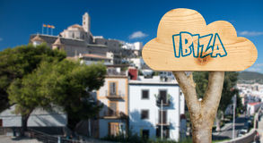 Wooden sign indicating  to ibiza Stock Photography