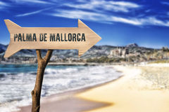 Wooden sign indicating to Majorca Royalty Free Stock Photos