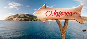 Wooden sign indicating to Mallorca Royalty Free Stock Photo