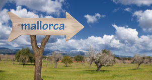 Wooden sign indicating to Mallorca Stock Photos