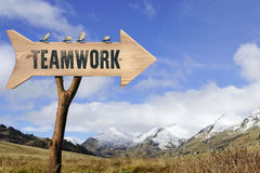 Wooden sign indicating to teamwork Stock Photo