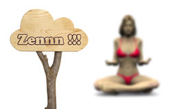 Wooden sign indicating to zen concept Stock Photography