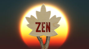 Wooden sign indicating zen Royalty Free Stock Photo