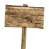 Wooden sign isolated on white. Wood old planks sign Royalty Free Stock Photo
