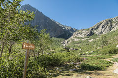 Wooden sign for Lac de Melu in mountains of Corsica Royalty Free Stock Photography