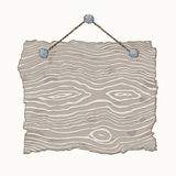 Wooden Sign. Light gray hanging blank old wooden sign Stock Image