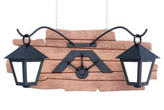 Wooden sign with the lights. 3d illustration Stock Photo