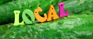 Wooden Sign Local On Fresh Home Grown Cucumbers Stock Photo