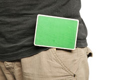Wooden Sign On Male Pants Royalty Free Stock Images