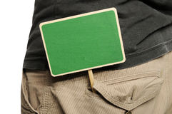 Wooden Sign On Male Pants Stock Photo