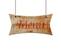 Wooden sign of menu. Stock Photo