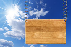 Wooden Sign with Metal Chain Royalty Free Stock Image