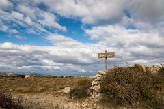 Wooden sign for Monte Tolu in Balagne region of Corsica Stock Photography