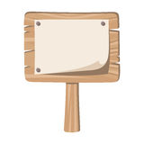 Wooden sign with nailed paper. Stock Photography