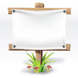 Wooden sign and paper on a grass. Wooden sign and paper on a grass with mushrooms.  illustration Royalty Free Stock Photos