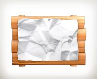 Wooden sign and paper Royalty Free Stock Image