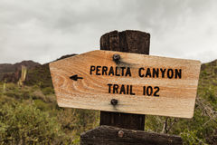 Wooden sign of Peralta Canyon, USA Royalty Free Stock Images