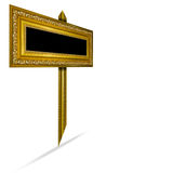 Wooden sign  ,picture frame gold wood frame in white bac Royalty Free Stock Photo