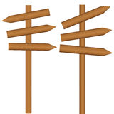 Wooden sign post. On a white background. Vector illustration Royalty Free Stock Photos